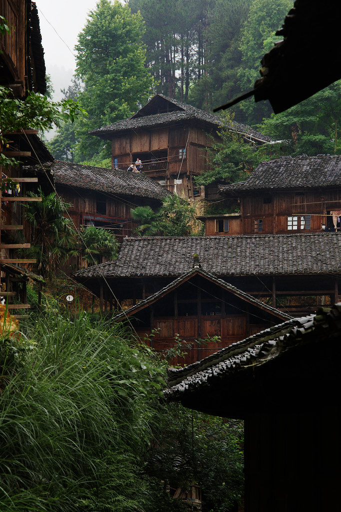 Men Working On The Roof Of Traditional Miao Wood Houses X