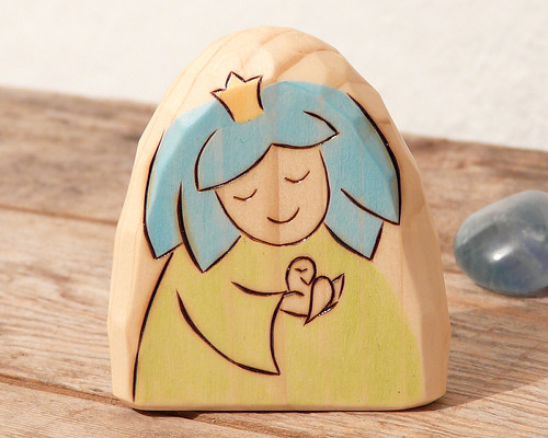 Sky Blue Color Fairy Wooden Toy Waldorf Montessori