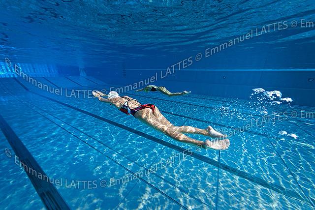 Nageuses l 39 entra nement dans une piscine olympique en for Piscine olympique