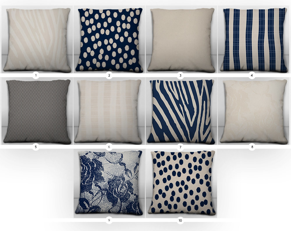 Navy And Cream Throw Pillow Covers City Chic Collection