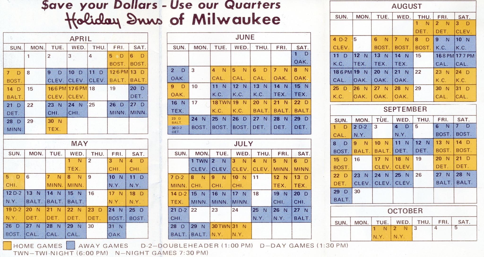 1974 Milwaukee Brewers Schedule