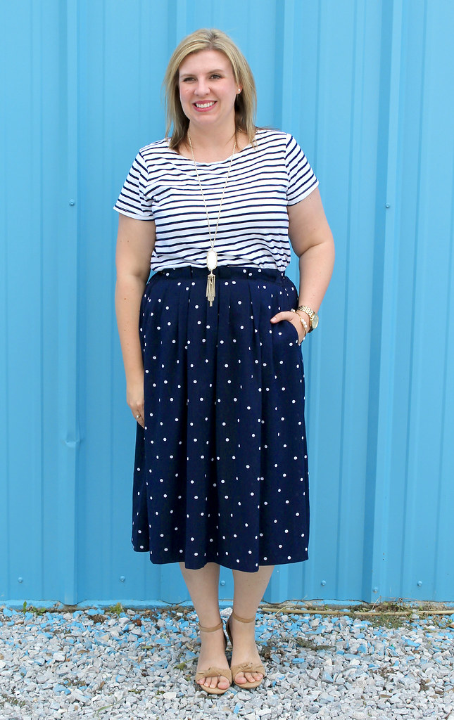 polka dot midi and breton tee 7