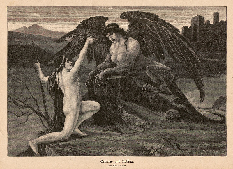 Walter Crane - Oedipus and the Sphinx, 1895