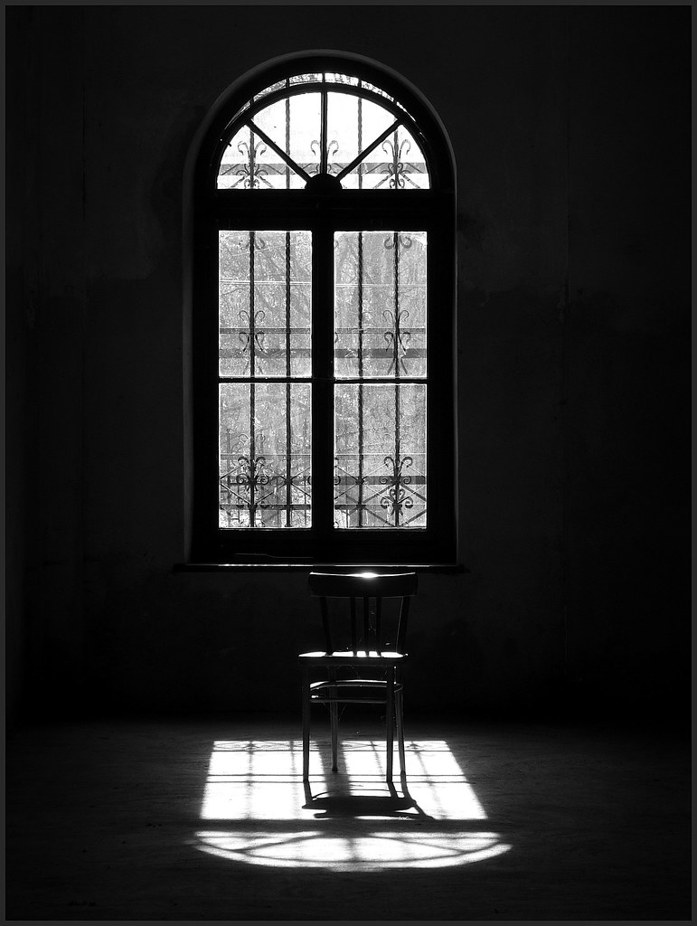 Black and white chair photography -  Window And An Old Chair By Violen S Photography
