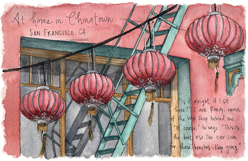Red paper lanterns are another favorite motif of mine to sketch, so I loved pulling my sketchbook out in the Chinatown neighborhood of San Francisco. Artist Candace Rose Rardon