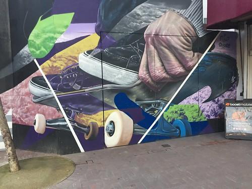 Skateboard mural, Market Street