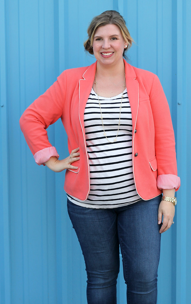 coral blazer, stripe tee and skinny jeans 2