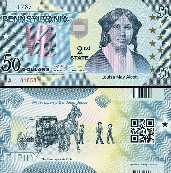 USA 50 Dollars 2014 2. štát - Pennsylvania, polymer