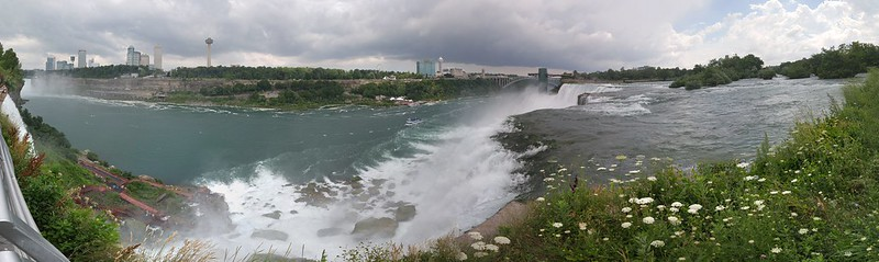 Panoramic view of Niagara River from Luna Island