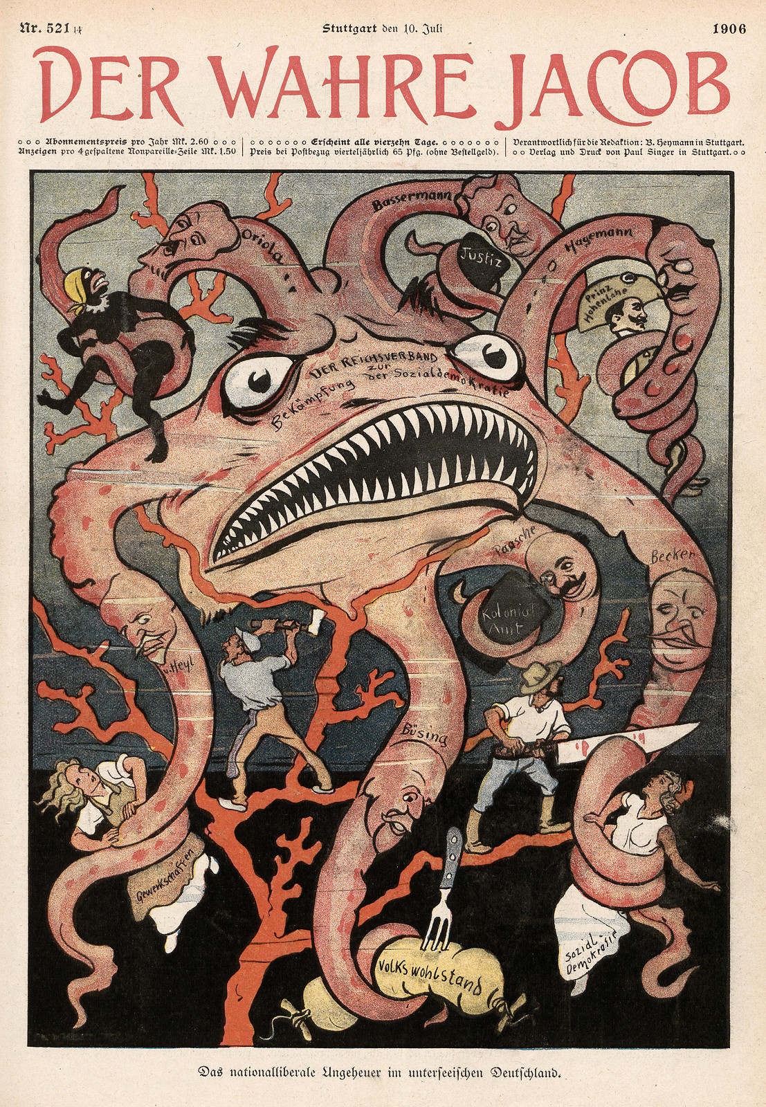 Unsigned - The national liberal monster in submarine Germany, 1906