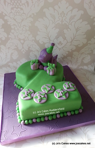 Blogs About Cake Decorating : Barney Themed 2nd Birthday Cake 2 shaped cake with hand ...