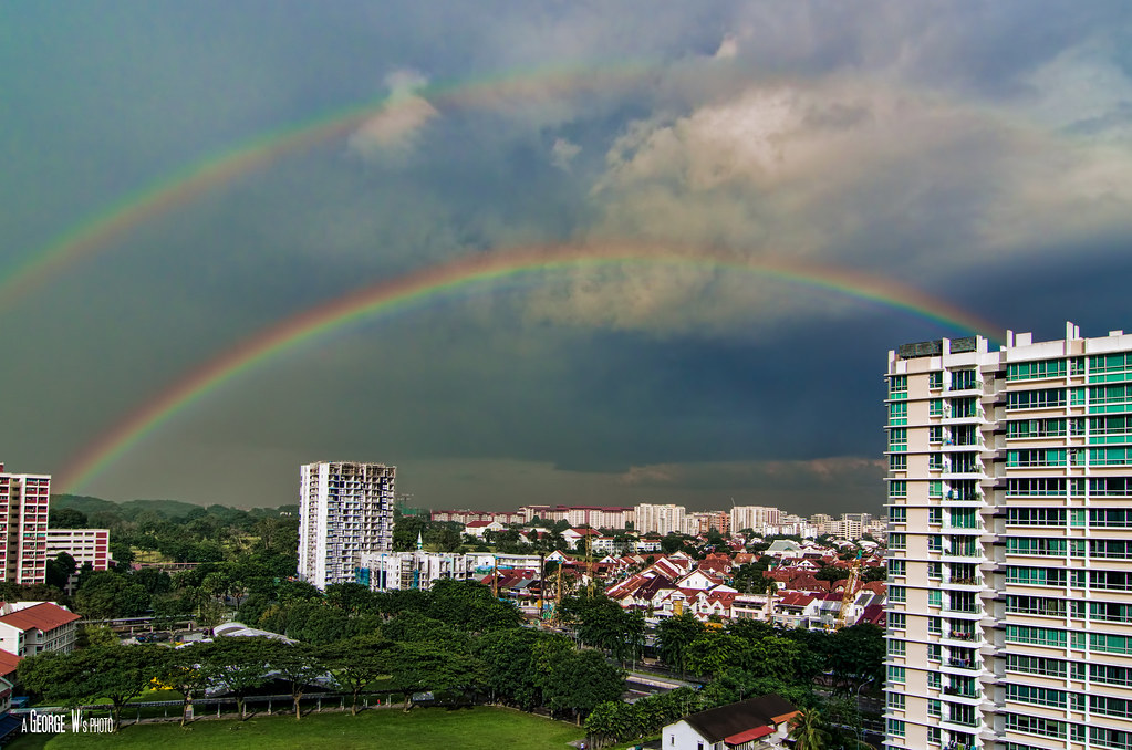 Double Rainbow Over Singapore City Chanced Upon A Double