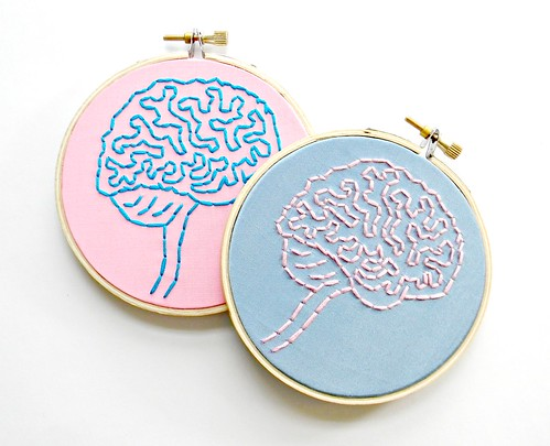 Brain Anatomy Hoop Art. Hand Embroidered in Pink and Blue. | by Hey Paul Studios