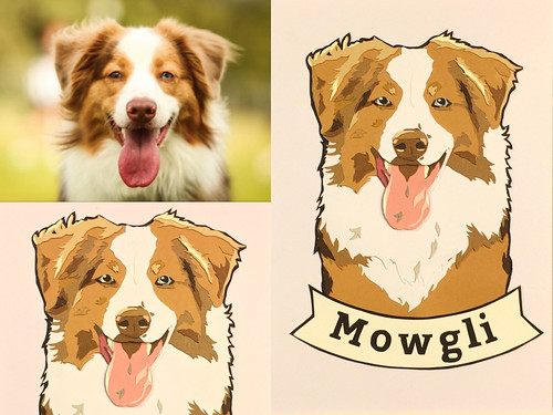 Custom Paper Pet Portrait - Mowgli