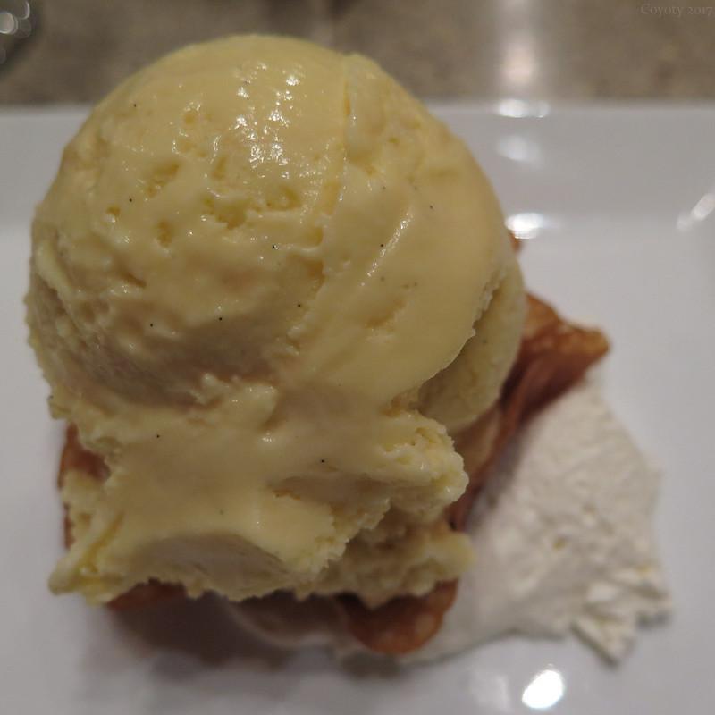 Caramel vanilla ice cream with fried caramel shell