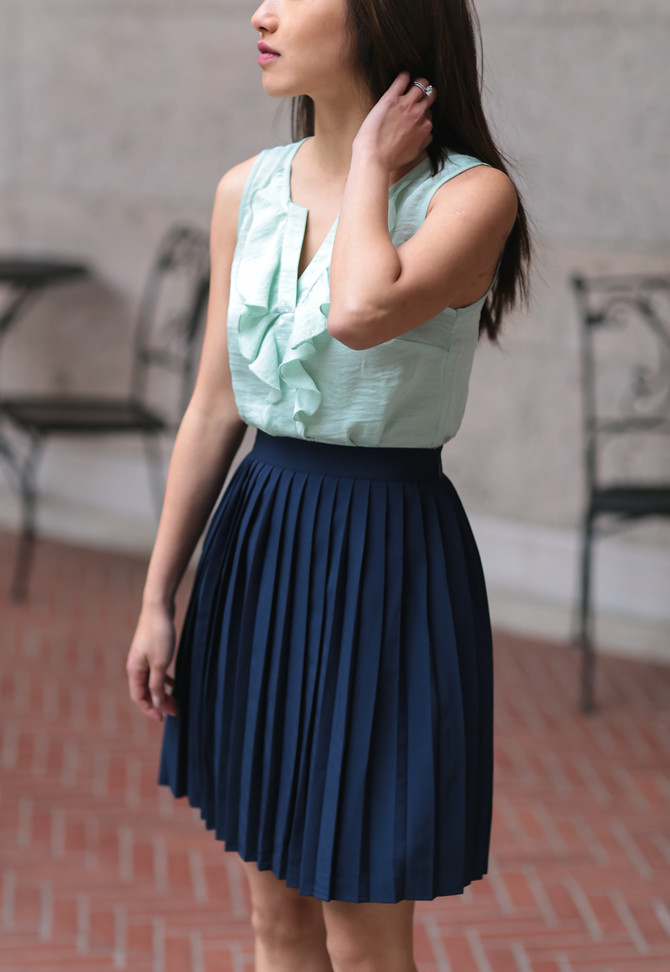 navy pleated skirt spring petite style blog