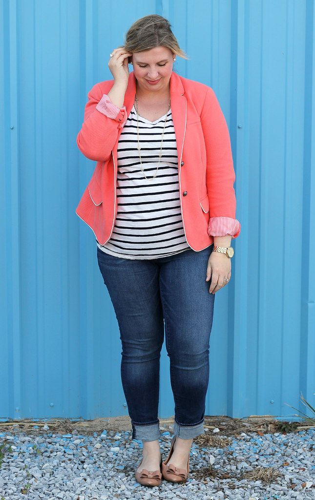 coral blazer, stripe tee and skinny jeans 6