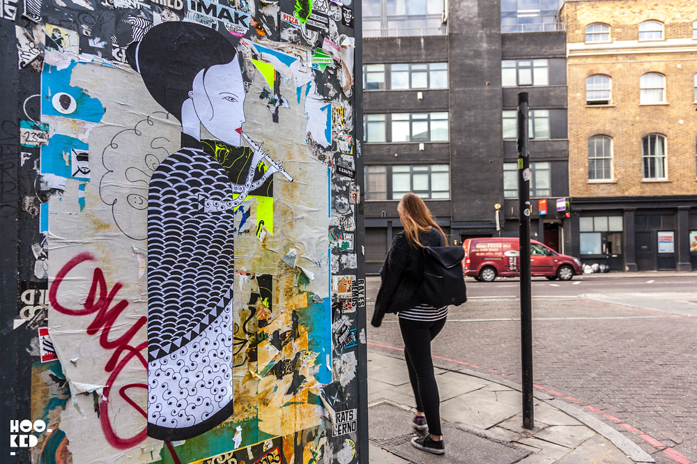 French Street Artist Fred Le Chevalier in Shoreditch, London. Photo ©Hookedblog / Mark Rigney