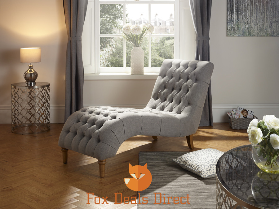 inverness style fabric chaise lounge chair in grey duck egg mink