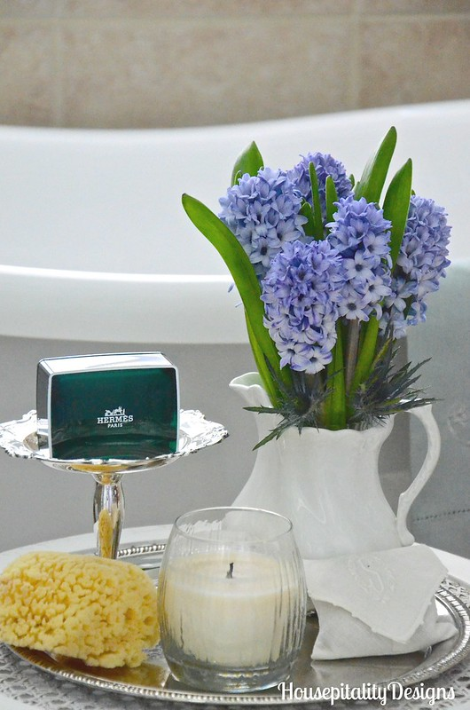 Hyacinths-Ironstone-Hermes Soap-Master Bathroom-Housepitality Designs