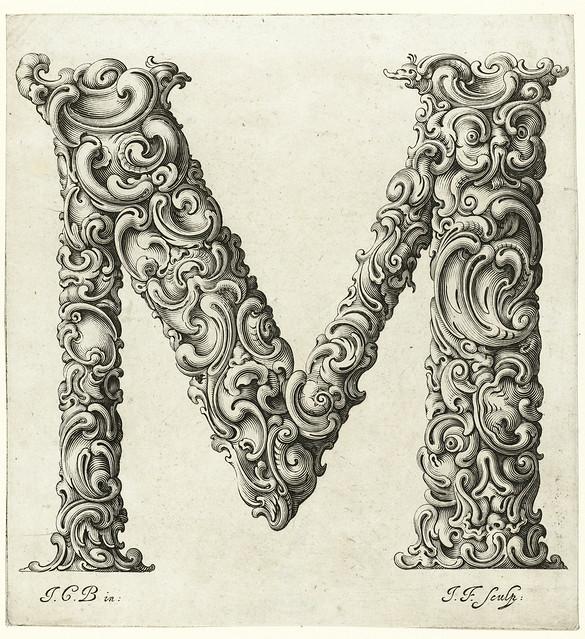 013- Letra M-Libellus Novus Elementorum Latinorum -J. C. Bierpfaff-  Rijksmuseum