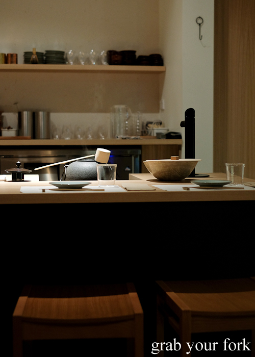 Counter seating at Restaurant Sasaki in Surry Hills Sydney