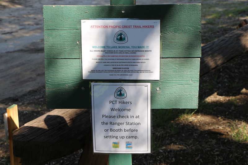 PCT hiker welcome sign and instructions at mile 20 when you first arrive at Lake Morena Campground