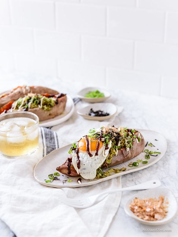 Okonomiyaki Stuffed Sweet Potatoes