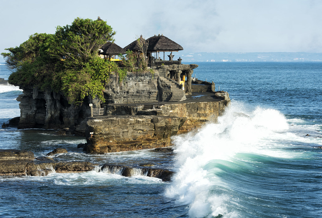 Tanah Lot, a rock formation on the Indonesian island of Bali