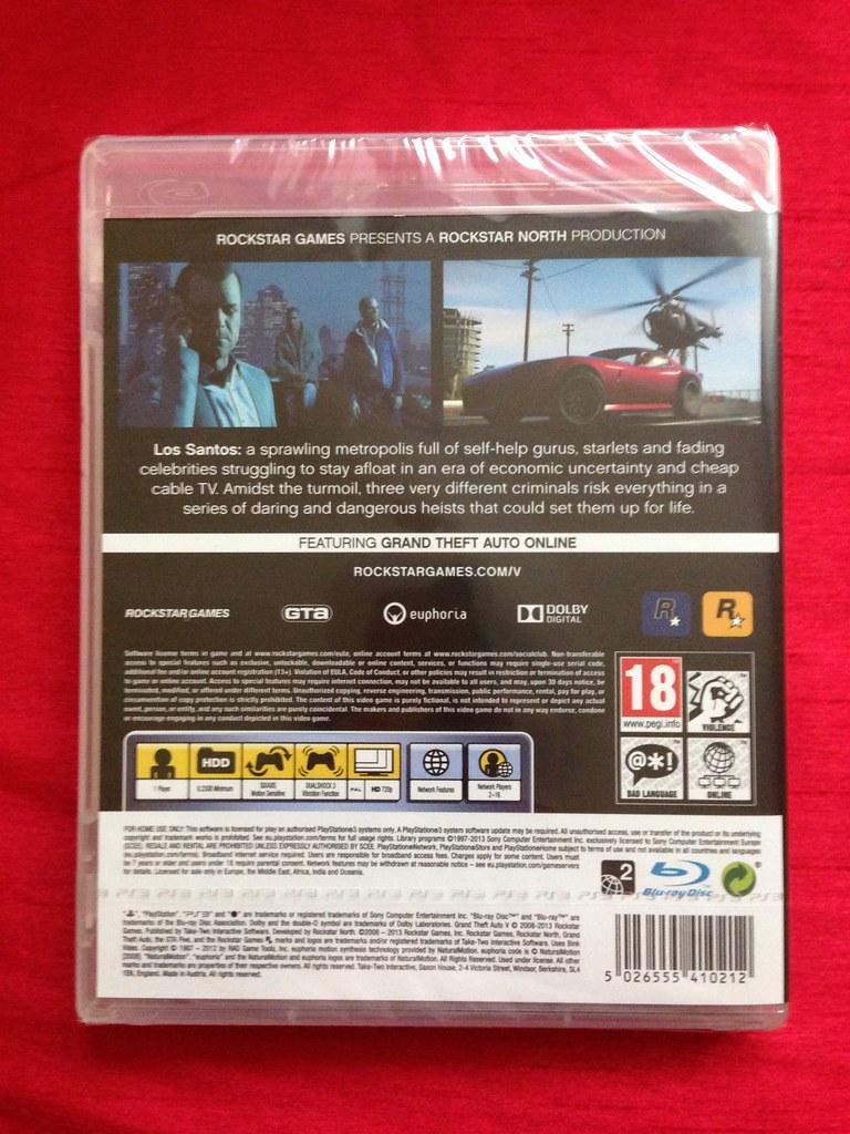 Gta5 Gtav Grand Theft Auto Five By Rockstar Games Ps3 Back