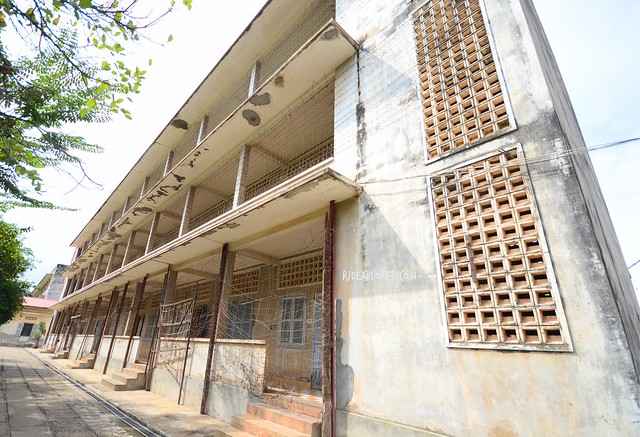 tuol sleng genocide museum building c barbed wires