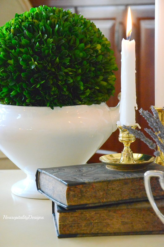 Ironstone tureen with boxwood topiary-antique books-Housepitality Designs