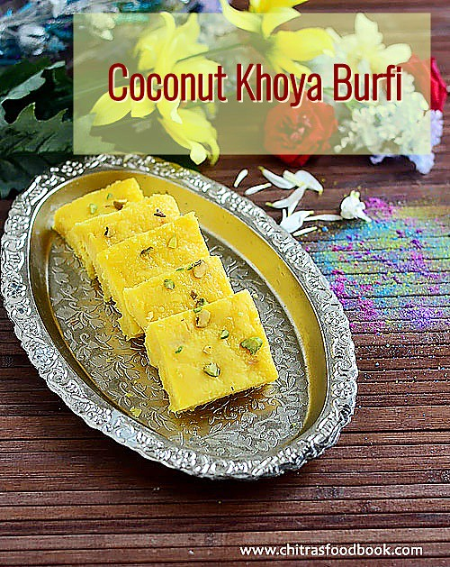 Coconut burfi recipe with khoya