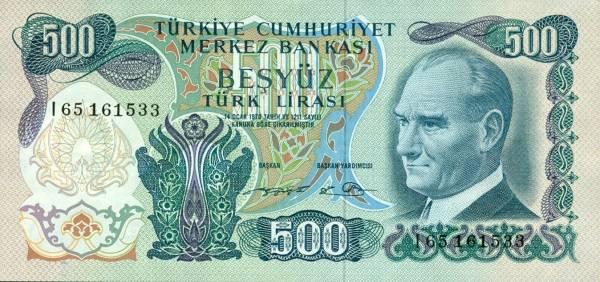500 tureckých lír Turecko 1970, P190d