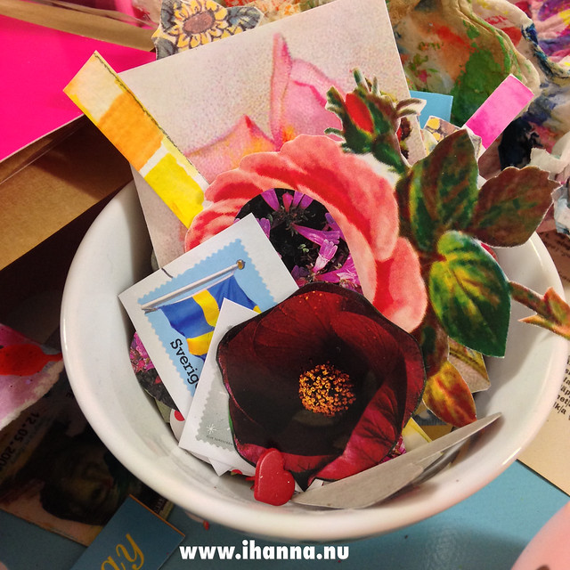 Little bits of yummy papers for collage postcards by iHanna #diypostcardswap #mailart