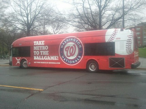 WMATA bus done up in a promotion for the Washington Nationals Baseball Team