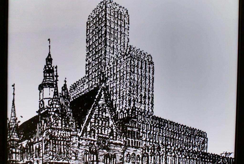 Projet de Max Berg n'ayant pas vu le jour : Gratte ciel au dessus de l'Hôtel de ville gothique de Wroclaw.