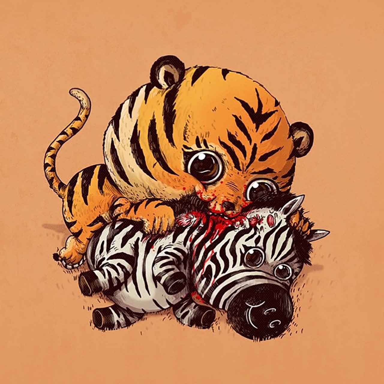 "Artist Creates Extremely Adorable ""Predator & Prey"" Illustrations #17: Tiger & Zebra"