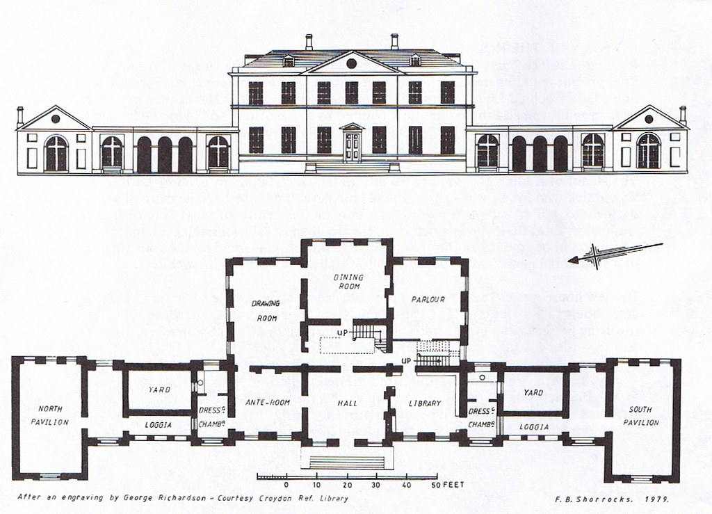 Addington palace 1778 plan plan and elevation of the for Palace plan