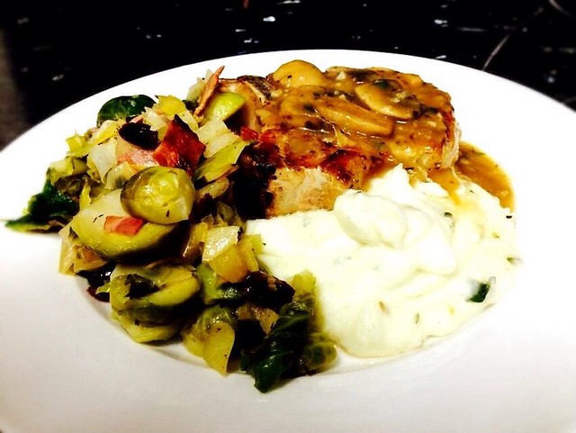 Hubby cooked New Year dinner: pan grilled pork chops with ...