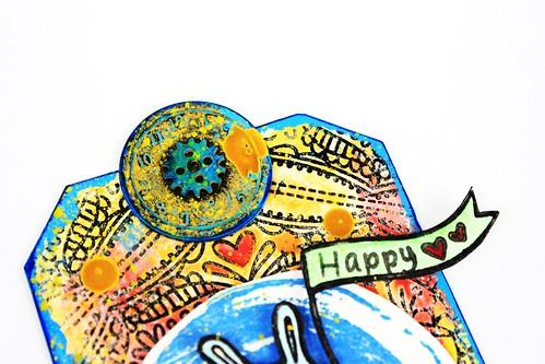 Meihsia Liu Simply Paper Crafts Mixed Media Tag Birthday Rabbit Simon Says Stamp Tim Holtz 3