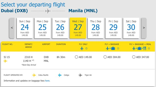 Dubai to Manila Cebu Pacific Promo AED 149