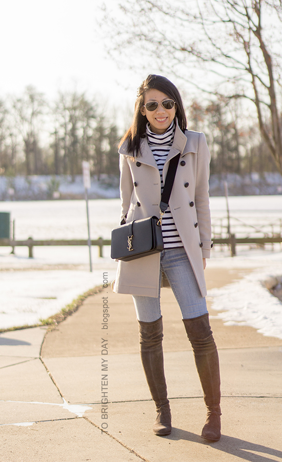 wool trench coat, black crossbody bag, striped turleneck, lightwash jeans, gray suede over the knee boots