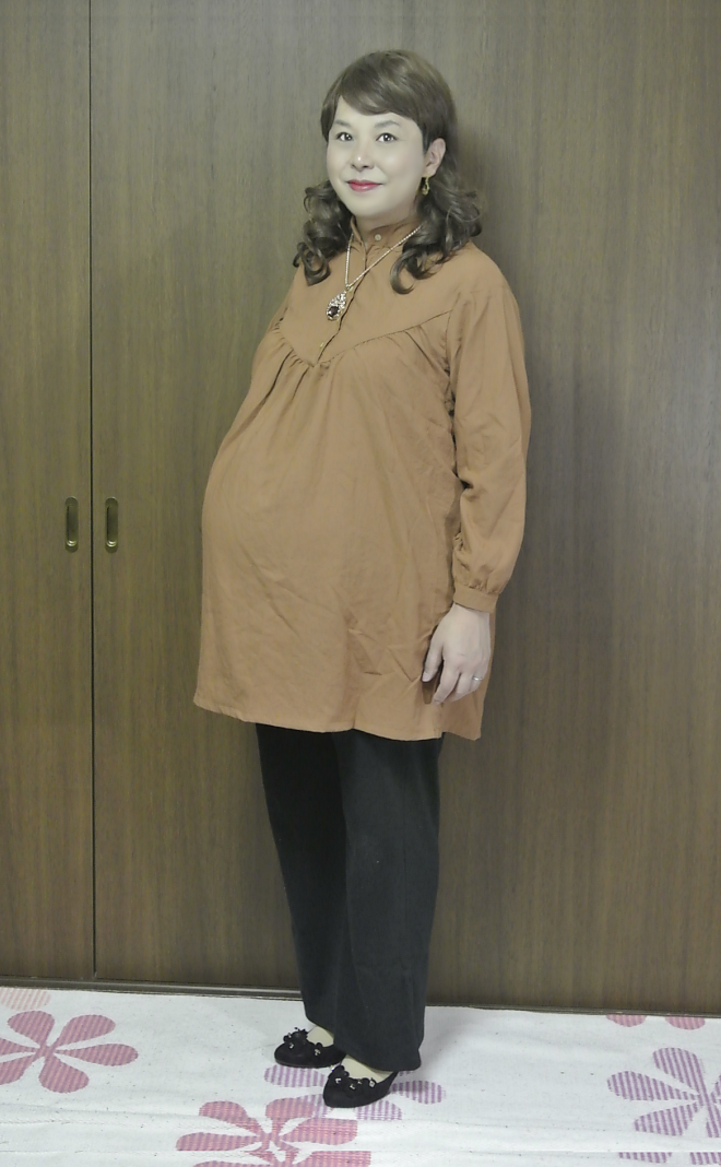 Orange pullover tunic and Black pants #2