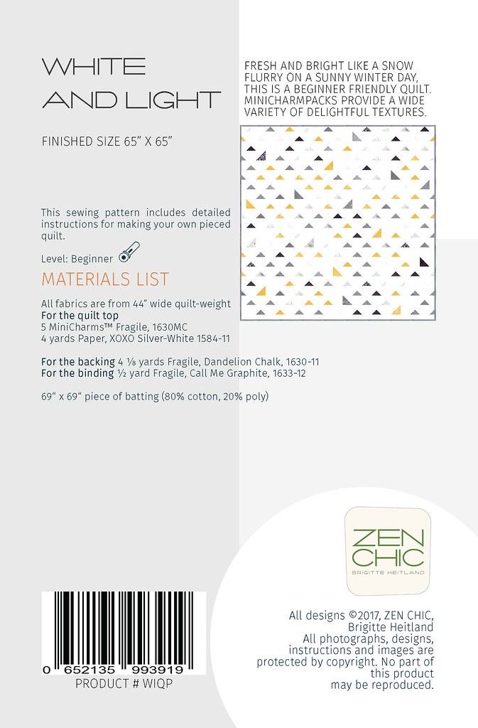 Materials List White and Light by Zen Chic for Moda