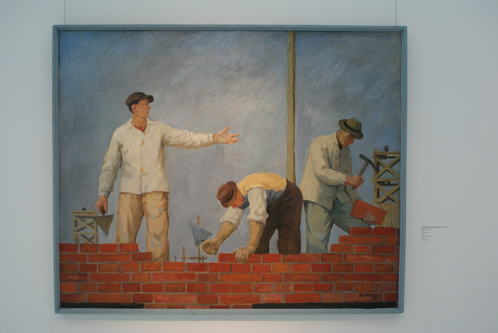 "Aleksander Kobzdej ""Podaj cegle"" (1950) Musée national d'art moderne de Wroclaw en Pologne."