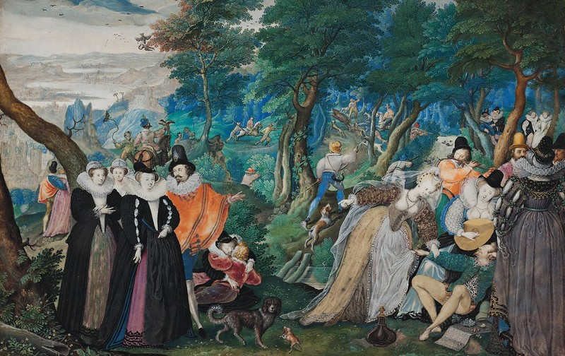 Isaac Oliver I - A Party in the Open Air. Allegory on Conjugal Love (c.1593)