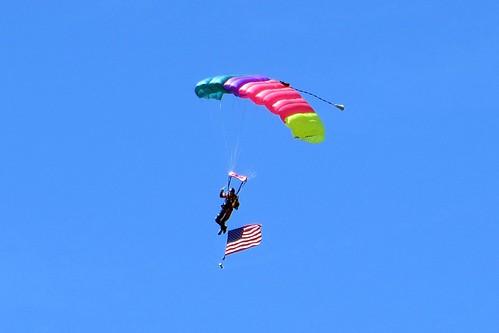 Pregame parachute jump