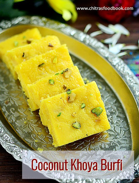 coconut khoya burfi recipe