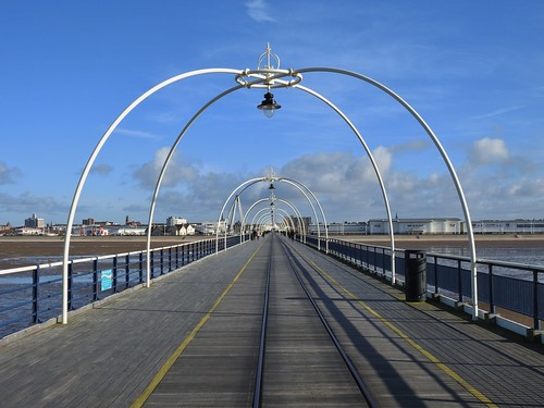 Southport Pier in Southport, Merseyside, England - March 2017